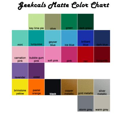 Geekcals Matte Vinyl Color Chart