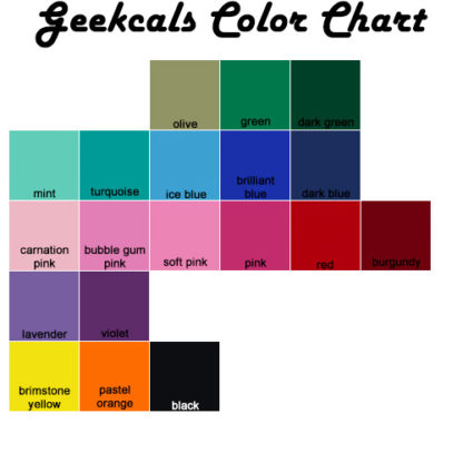 Geekcals Wall Vinyl Color Chart