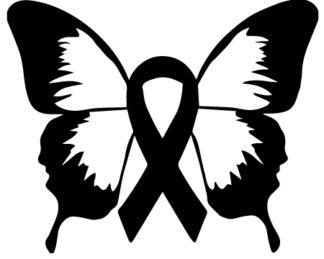 Butterfly Awareness Ribbon Sticker