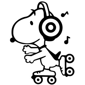 Skating Music Snoopy Sticker