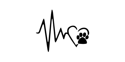 Heart Beat Paw Decal