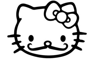 Hello Kitty Moustache Decal