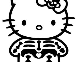 Hello Kitty Skeleton Sticker