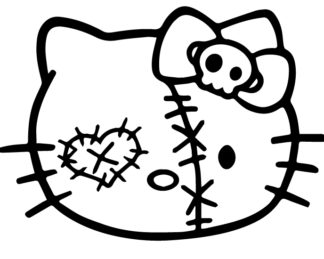 Hello Kitty Zombie Patch head Decal