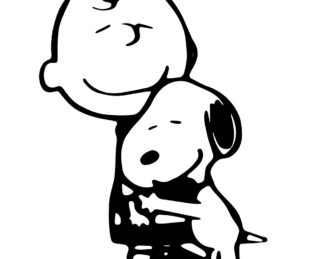 Charlie Brown and Snoopy Hugging Sticker