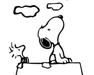 Snoopy and Woodstock Cloud Gazing Sticker